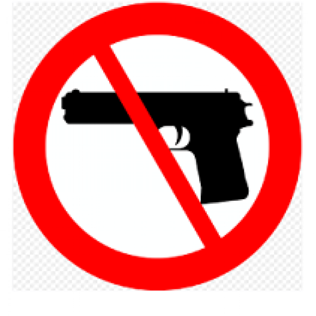 """Black gun with a red circle around it and a slash through it - a """"no"""" symbol"""