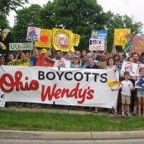 Protest outside Wendy's headquarters during the company's 2016 shareholder meeting